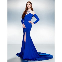Trumpet/Mermaid Jewel Court Train Jersey Evening Dress (1798984)