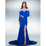 Trumpet/Mermaid Jewel Court Train Jersey Evening Dress (1798984) Special Occasion Dresses