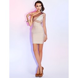Cocktail Party / Holiday Dress - Multi-color Petite Sheath/Column One Shoulder Short/Mini Rayon