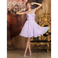 Knee Length Chiffon Lace Bridesmaid Dress Lilac Plus Sizes Petite A Line Off The Shoulder