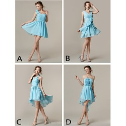 Mix & Match Dresses Short Mini Chiffon 4 Styles Bridesmaid Dresses (2839947)
