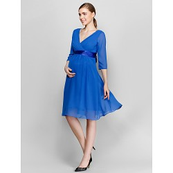 Knee Length Chiffon Bridesmaid Dress Royal Blue Plus Sizes Petite A Line V Neck