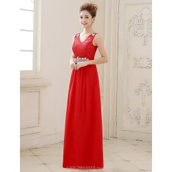 Formal Evening Dress Fuchsia Ruby Pearl Pink Plus Sizes A Line V Neck Floor Length Lace Georgette