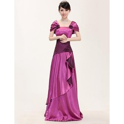 Formal Evening Dress Fuchsia Plus Sizes A Line Square Floor Length Stretch Satin