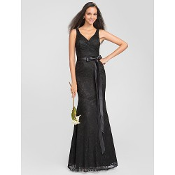 Trumpet Mermaid V Neck Floor Length Lace Bridesmaid Dress (631232)
