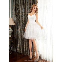 Cocktail Party Dress Ivory Ball Gown One Shoulder Short Mini Tulle