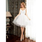 Cocktail Party Dress - Ivory Ball Gown One Shoulder Short/Mini Tulle Special Occasion Dresses