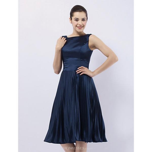Cocktail Party / Wedding Party Dress - Dark Navy Plus Sizes / Petite A-line / Princess Bateau Knee-length Stretch Satin Special Occasion Dresses