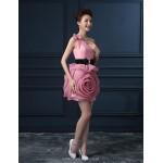 Cocktail Party Dress - Champagne / Lilac / Watermelon Plus Sizes A-line One Shoulder Short/Mini Organza / Satin Celebrity Dresses