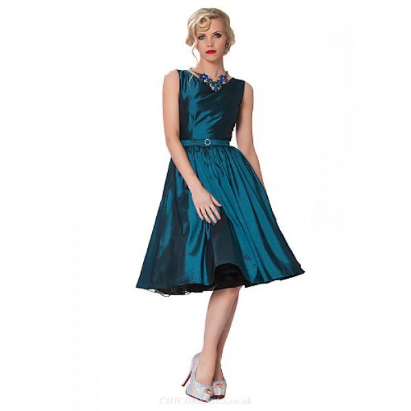 Cocktail Party Dress - Fuchsia / Ruby / Dark Navy / Sage / Clover / Chocolate / Black Plus Sizes A-line Bateau Knee-length Taffeta Special Occasion Dresses
