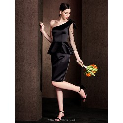 Knee Length Satin Bridesmaid Dress Black Plus Sizes Petite Sheath Column One Shoulder