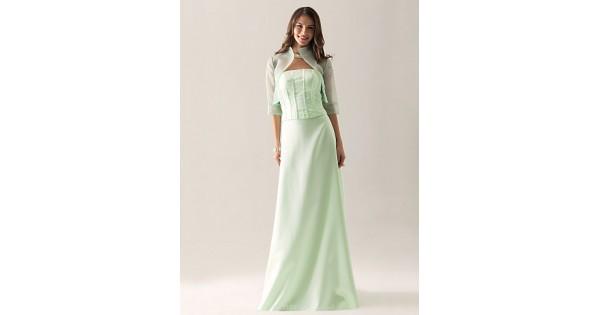 Bridesmaid Dress Floor Length Satin Organza Sheath Column Strapless Party Dress With Wrap