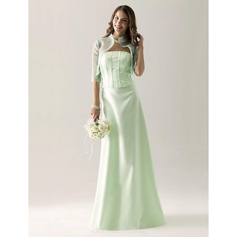 Bridesmaid Dress Floor Length Satin Organza Sheath Column