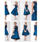 Cocktail Party Dress - Orange / Ruby / Ocean Blue / Dark Green / Brown / Grape Plus Sizes A-line Bateau Knee-length Taffeta Special Occasion Dresses