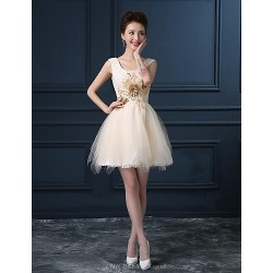 Cocktail Party Dress - Champagne Plus Sizes Ball Gown Scoop Short/Mini Lace / Satin