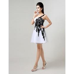 Cocktail Party Dress White Plus Sizes Petite A Line One Shoulder Knee Length