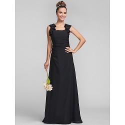 Floor-length Chiffon Bridesmaid Dress - Black Plus Sizes / Petite Sheath/Column Square