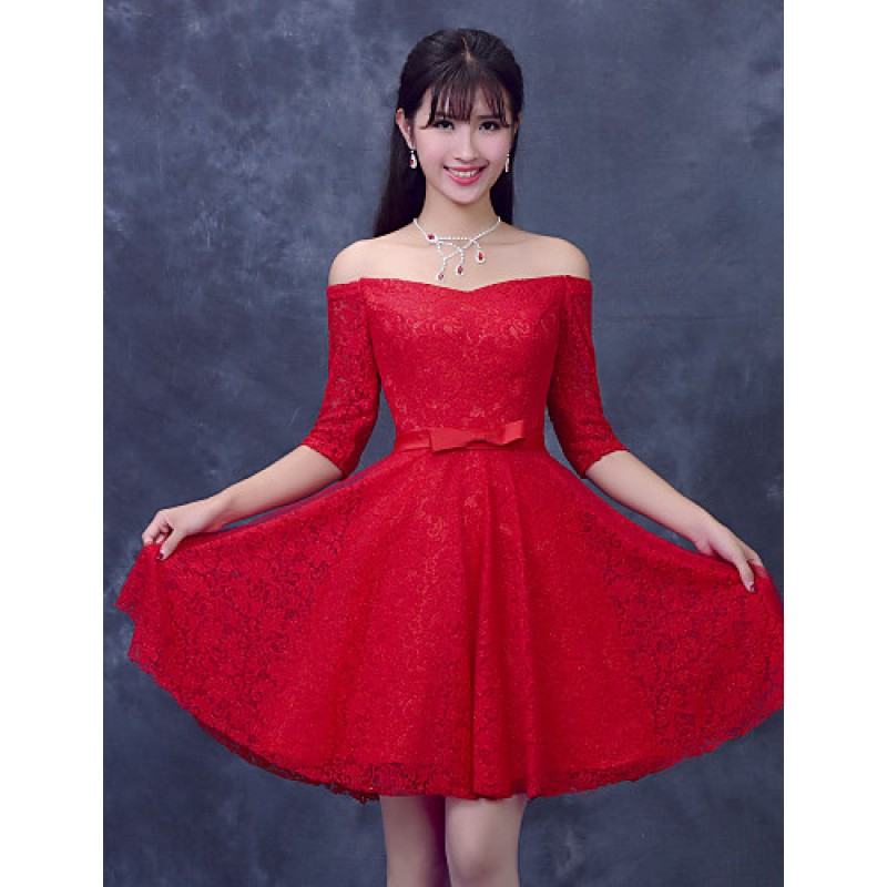 54327c569d5 ... Cocktail Party Dress - Ruby Plus Sizes A-line Off-the-shoulder Short ...