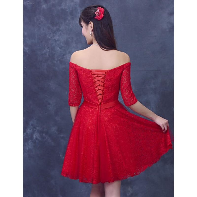 de018b93353 Cocktail Party Dress - Ruby Plus Sizes A-line Off-the-shoulder Short ...