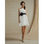 Knee-length Chiffon Bridesmaid Dress - White / Pearl Pink / Sky Blue / Champagne / Lilac A-line One Shoulder Special Occasion Dresses