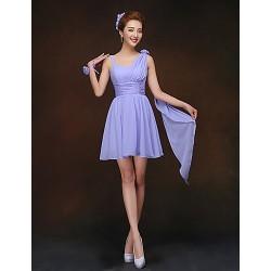 Short Mini Bridesmaid Dress Lavender Sheath Column Spaghetti Straps