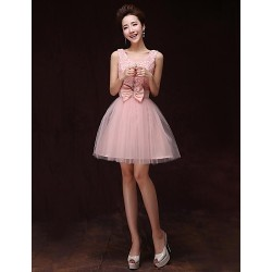 Cocktail Party Dress Pearl Pink A Line V Neck Knee Length Satin