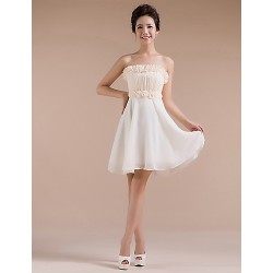 Short Mini Chiffon Bridesmaid Dress Champagne Sheath Column Strapless