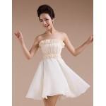 Short/Mini Chiffon Bridesmaid Dress - Champagne Sheath/Column Strapless Special Occasion Dresses