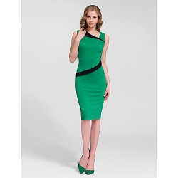 Cocktail Party Dress - Multi-color Plus Sizes Sheath/Column One Shoulder Knee-length Cotton