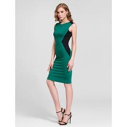 Cocktail Party Dress Dark Green Plus Sizes Sheath Column Jewel Knee Length Cotton