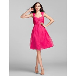 Knee Length Chiffon Bridesmaid Dress Fuchsia Plus Sizes Petite Sheath Column Sweetheart