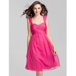 Knee-length Chiffon Bridesmaid Dress - Fuchsia Plus Sizes / Petite Sheath/Column Sweetheart Special Occasion Dresses