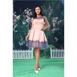 Cocktail Party Dress Blushing Pink A Line Bateau Short Mini Lace Satin