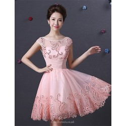 Cocktail Party Dress - Pearl Pink A-line Bateau Knee-length Satin