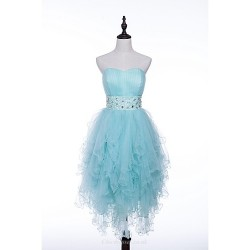 Cocktail Party Dress Pool Sky Blue A Line Strapless Short Mini Tulle