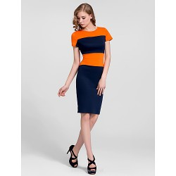 Cocktail Party Dress Multi Color Plus Sizes Sheath Column High Neck Knee Length Cotton