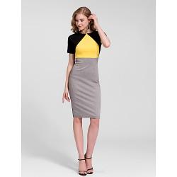 Cocktail Party Dress Multi Color Plus Sizes Sheath Column Jewel Knee Length Cotton