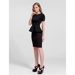 Cocktail Party Dress Black Plus Sizes Sheath Column Jewel Knee Length Cotton