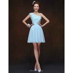 Short Mini Bridesmaid Dress Sky Blue Sheath Column One Shoulder