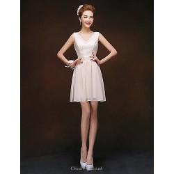 Short Mini Bridesmaid Dress Champagne Sheath Column V Neck