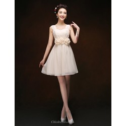 Knee Length Chiffon Bridesmaid Dress Champagne Sheath Column Straps