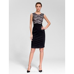 Cocktail Party Dress Black Sheath Column Jewel Knee Length Polyester