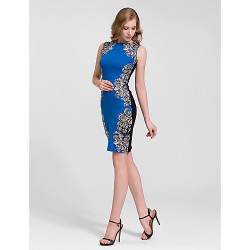 Cocktail Party Dress Multi Color Plus Sizes Sheath Column Jewel Knee Length Cotton