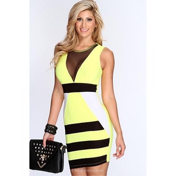 Cocktail Party Dress - Royal Blue / Daffodil Plus Sizes Sheath/Column Jewel Short/Mini Spandex / Polyester Celebrity Dresses