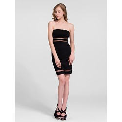 Cocktail Party Dress - Black Plus Sizes Sheath/Column Strapless Short/Mini Cotton