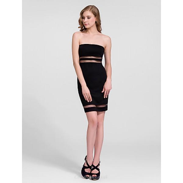 Cocktail Party Dress - Black Plus Sizes Sheath/Column Strapless Short/Mini Cotton Celebrity Dresses