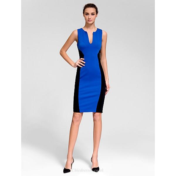 Cocktail Party Dress - Multi-color Sheath/Column V-neck Short/Mini Polyester Celebrity Dresses