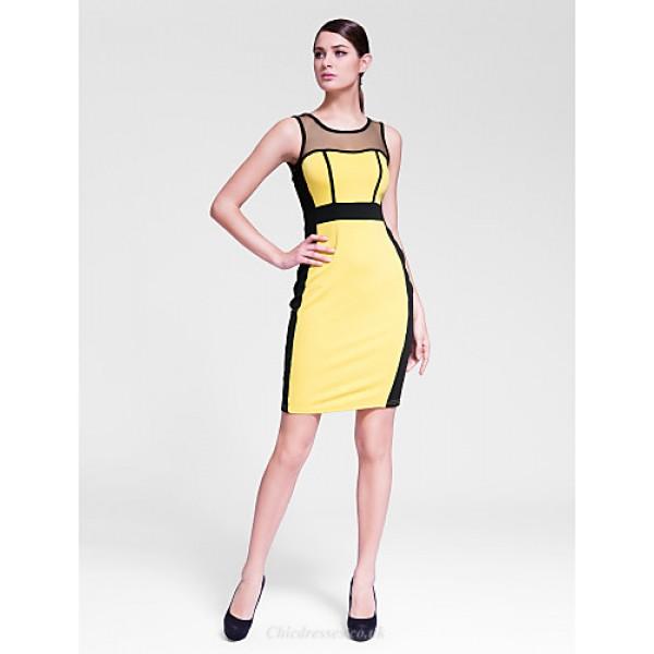 Cocktail Party Dress - Multi-color Sheath/Column Jewel Knee-length Polyester Celebrity Dresses