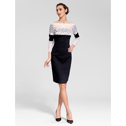 Cocktail Party Dress - Black Sheath/Column Bateau Knee-length Polyester