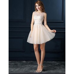 Cocktail Party Dress - Champagne Ball Gown Jewel Short/Mini Tulle